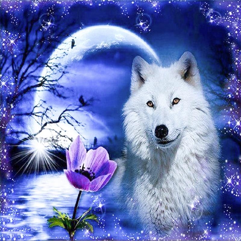 100 Diy 5d Diamond Embroidery Animals White Wolf Diamond
