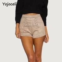 Yojoceli Suede Lace Up Shorts Women Zipper 2017 Autumn Bodycon Shorts Sexy Casual High Waist Winter