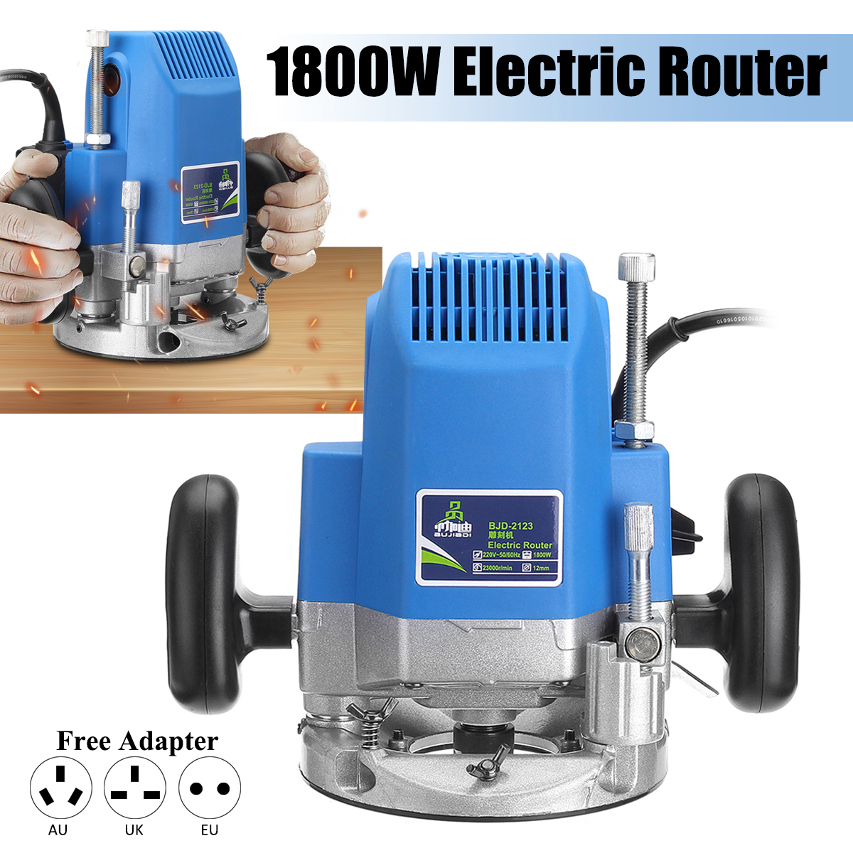 1800W 1/4 inch Electric Trimmer 220V Electric Wood Router 23000RPM Woodworking Trimming Router Folding e dge Carving Power Tools 220v high power woodworking engraving machine electric router grooving trimming machine 1800w 23000rpm