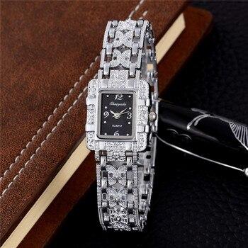 Reloj de cuarzo plateado para mujer, reloj de pulsera de Metal, reloj de mano para mujer, reloj de oro rosa de lujo hodinky Montre Femme