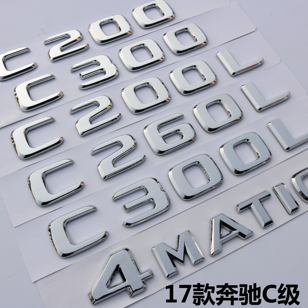 Pour Mercedes Benz 2017 2018 C43 C63 AMG C200 C220 C300 C320 C350 C400 4 MATIC Tronc Chrome Plat Lettres Emblèmes Badge Emblème