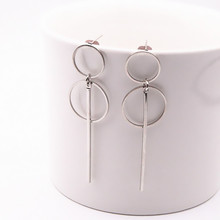 Fashion Earrings Punk Simple Gold/ Silver / Long Section Tassel Pendant Size Circle Earrings For Ladies Gifts