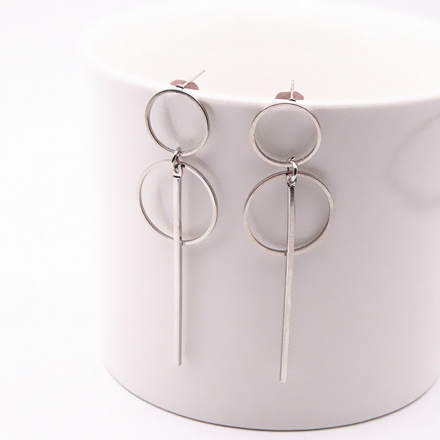 Simple Gold/ Silver / Long Section Tassel Pendant Size Circle Earrings For Ladies