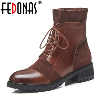 FEDONAS 2020 Women Retro Genuine Leather Ankle Boots Warm Autumn Winter Cross-tied Short Chelsea Boots Casual Basic Shoes Woman