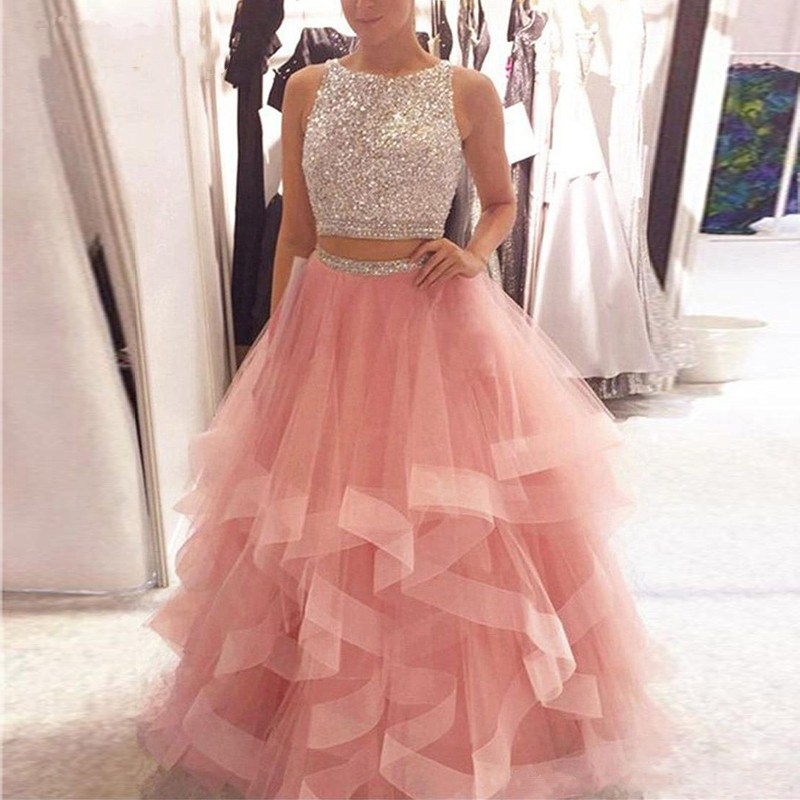 Bling Pink O Neck   Prom     Dresses   2019 Backless Two Pieces Ruched Formal Evening   dress   Women elegant Evening Gowns Long