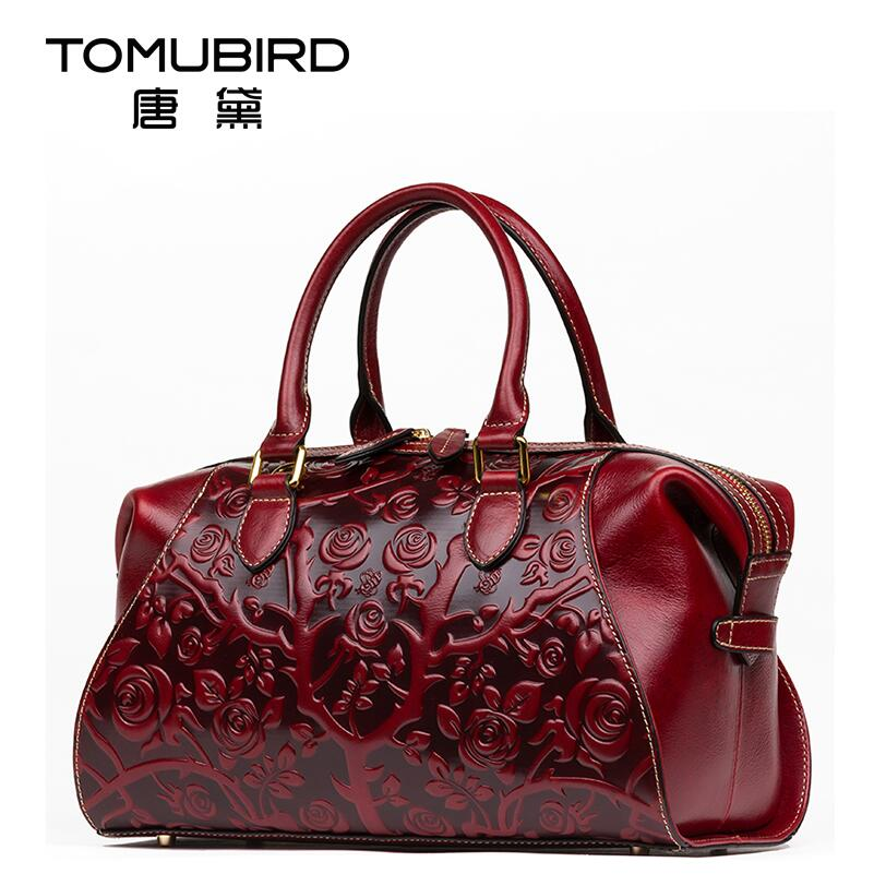 TOMUBIRD new superior cowhide leather Floral Collection famous brand women bag retro fashion women genuine leather handbags Tote famous collection rectangular ext famous collection table in darkbrown finish
