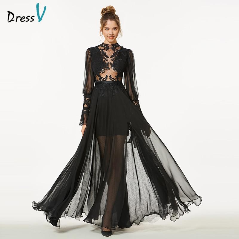 Dressv Evening Party-Gown Appliques Long-Sleeves Elegant Black Simple Scoop A-Line Button