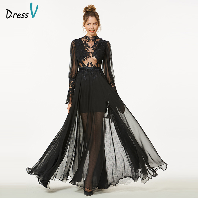 Dressv elegant black long   prom     dress   long sleeves simple a-line scoop neck button appliques evening party gown   prom     dress