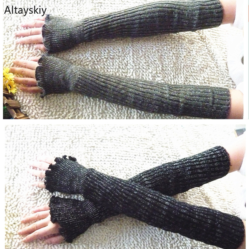 Arm Warmers Women Solid Knitted Warm Fake Sleeve Cuff Finger-less Womens Warmer All-match Trendy Kawaii Korean Style Chic Simple