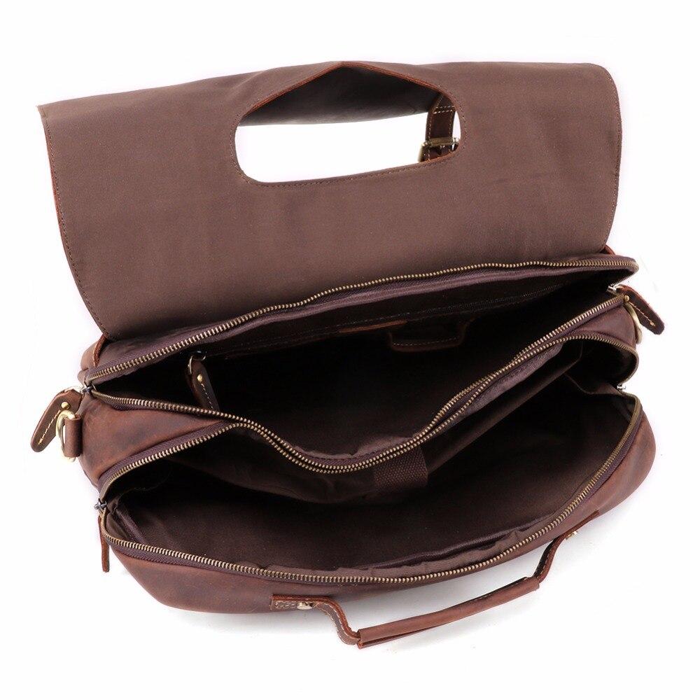 JOYIR Vintage Crazy Horse Leather Men 39 s Briefcase Laptop Bag Business Bag Genuine Leather Briefcase Men Shoulder Bag Handbag in Briefcases from Luggage amp Bags