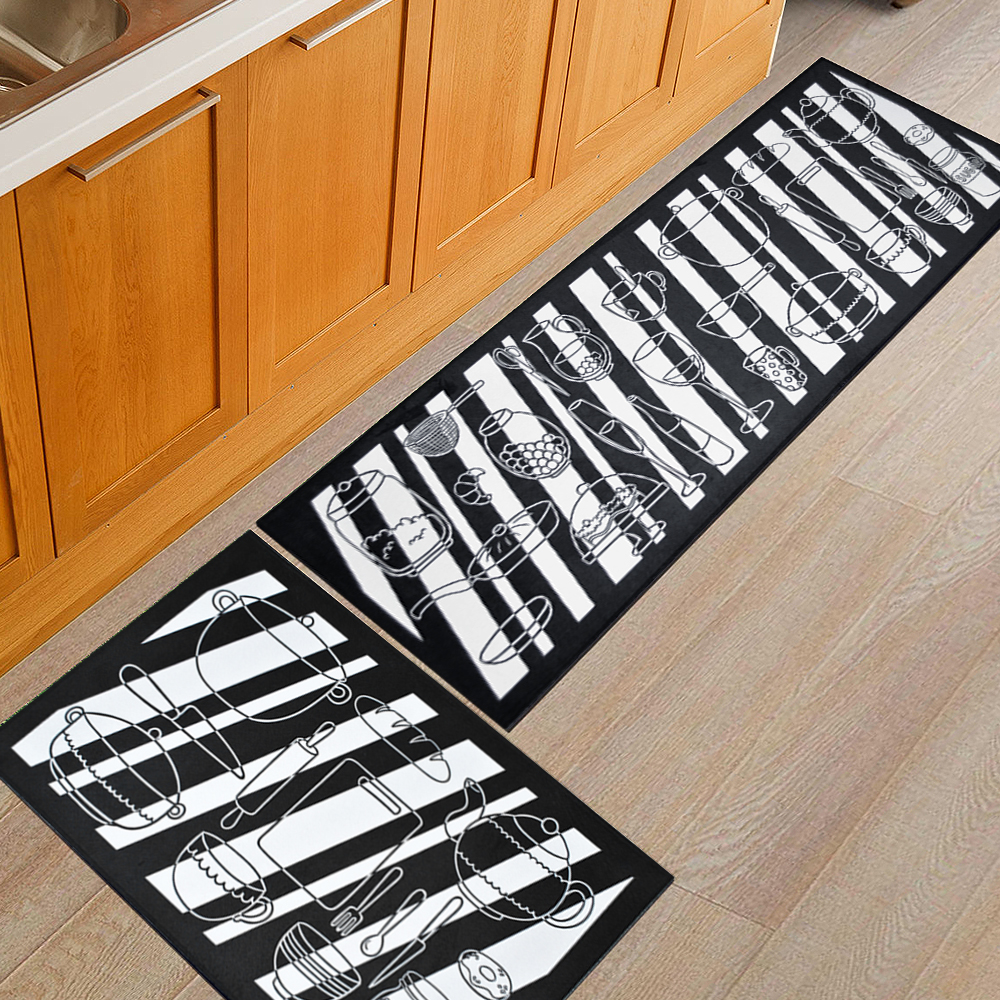 White Kitchen Floor Mats: Blak & White Carpet Nordic Style Flannel Soft Plush