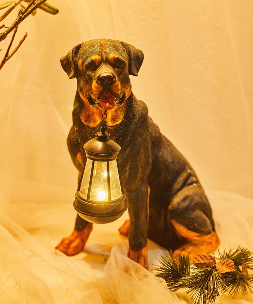 Estátua Animal jardim Quintal Cão Golden Retriever Rottweiler Cão escultura Mobiliário Home Decor Amarelo Com UMA Lâmpada de Lanterna Solar - 3