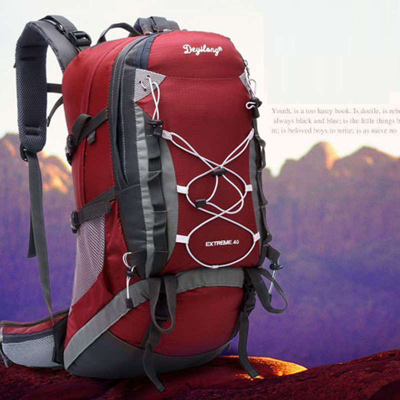 Quality outdoor mountaineering bags 40l waterproof with detachable shelves mountaineering bags hiking backpack trip