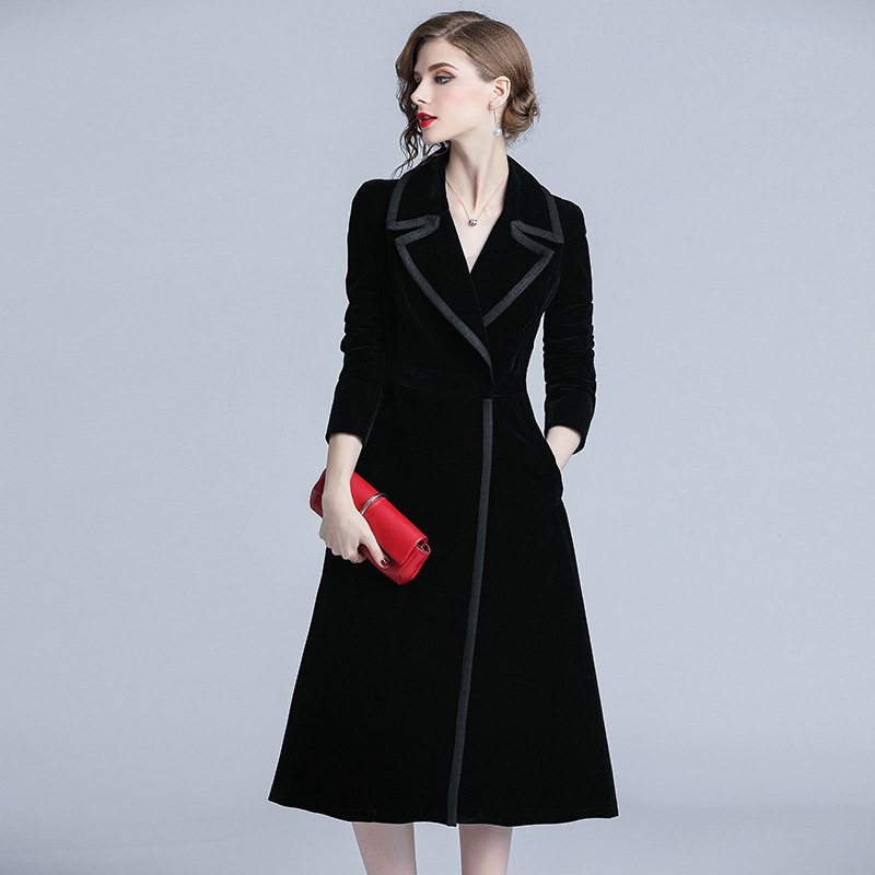 Vintage Black Solid Color 2018 New Women OL Velvet Long Autumn Winter Covered Button Retro Loose Solid   Trench   Coat