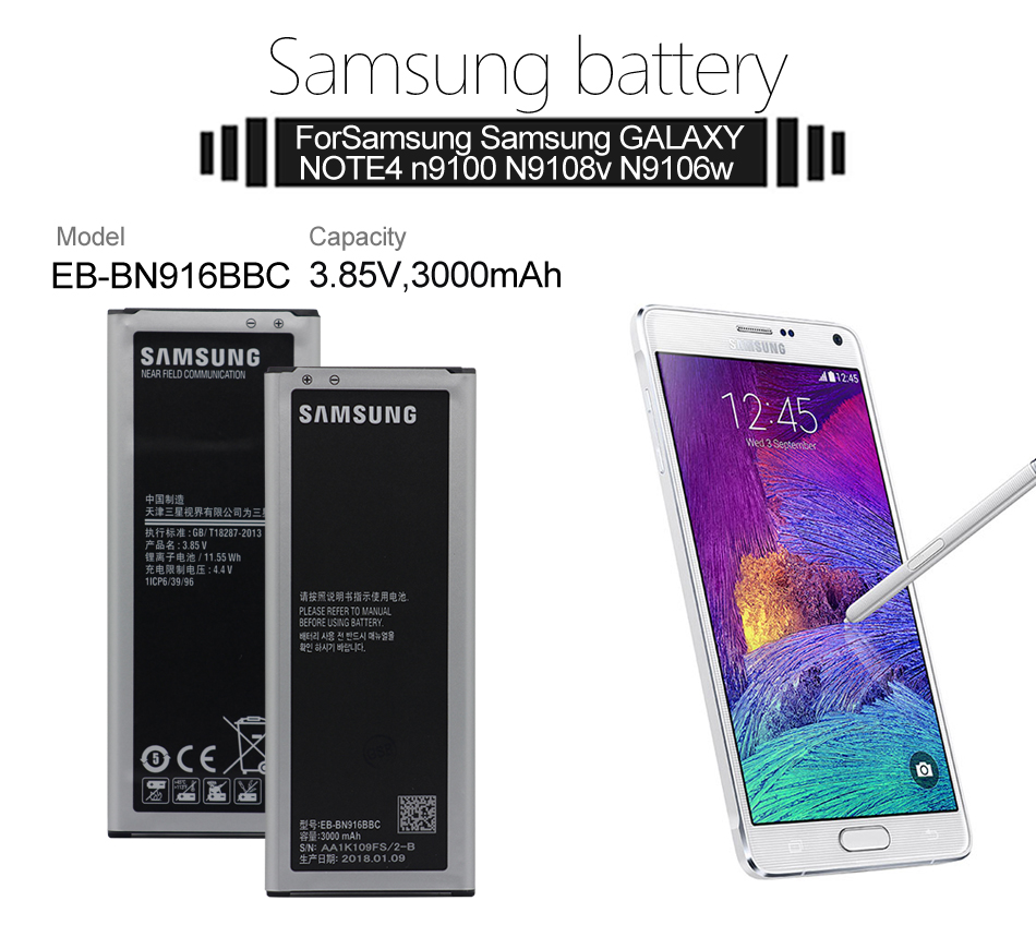 SAMSUNG Phone Battery EB-BN916BBC For Samsung GALAXY NOTE4 N9100 N9108V  N9109V N9106W Replacement Battery with NFC 3000mAh
