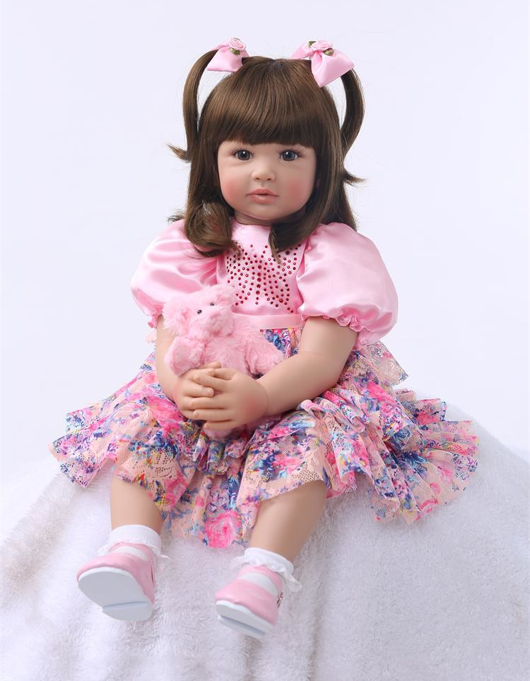 Pursue 24/60cm Reborn Baby Soft Body Real Life Beautiful Princess Girl Doll Ann Weighted for Cuddle Toddler Doll with Long Hair цена