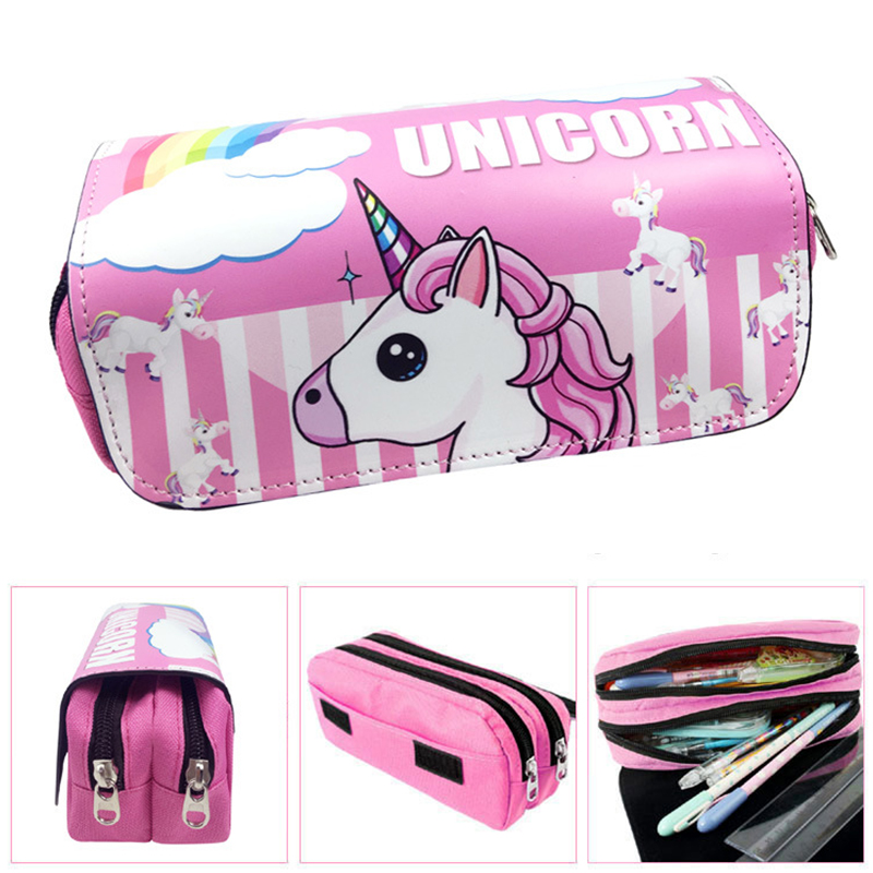 Big Capacity Unicorn Pencil Case Cute PU Leather Stationery Pouch Gift Double Zipper Stationery Pen Bag School Supplies