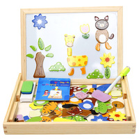 Animal Drawing Writing Board Magnetic Puzzle Double Easel Kid Wooden Toys Sketchpad Gift Intelligence Education Development Toy