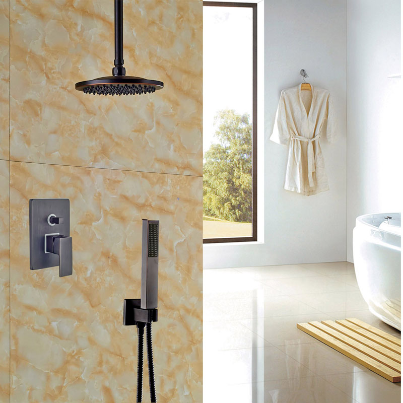 Contemporary Bathroom 2 way Shower Set Faucet Ceiling Mounted Oil ...
