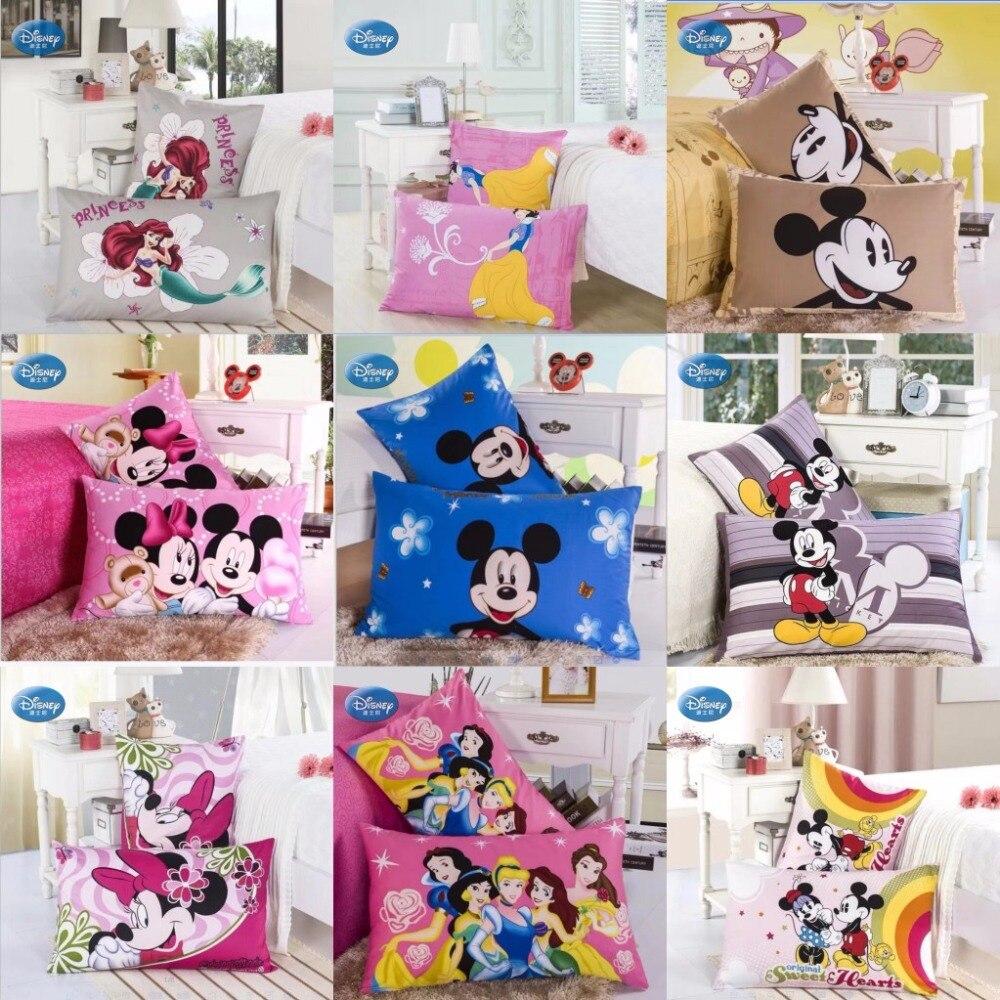 ¡Descuentos! fundas de almohada de algodón de Disney 100% unids 2 piezas de dibujos animados de Mickey Minnie princesa funda de almohada decorativa de pareja funda de almohada 48x74 cm
