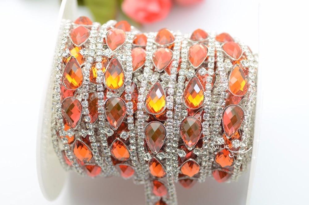 5 yard costume sun red orange rhinestone applique trims silver