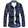 Botão Dos Homens M-6XL Camisa Floral Primavera 2017 Para Baixo Impressão Flor de Manga Comprida Camisas Casual Plus Size Camisa Masculina Sociais