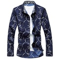M-6XL Mens Floral Shirt 2017 Spring Button Down Flower Printing Long Sleeve Casual Shirts Plus Size Camisa Social Masculina