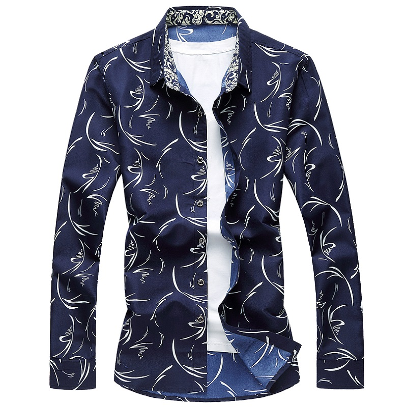 M-6XL Mens Floral Shirt 20197 Spring Button Down Flower Printing Long Sleeve Casual Shirts Plus Size Camisa Social Masculina