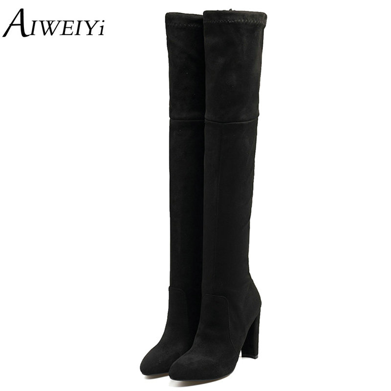 AIWEIYi 2018 Over The Knee Boots Winter Round Toe Thick Fur Warm Women Boots Stretch Fabric Ladies Fashion Boots Big Size 34-43