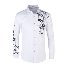 Long Sleeve Shirt 2019 Spring and Summer New Mens Fashion Casual Print Slim Large Size S-6XL