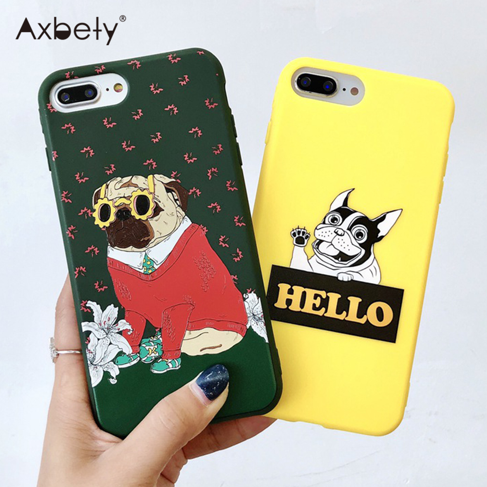 Axbety For iPhone 7 Case Cartoon Dog Bulldog Pug Phone Cover For iPhone X XS 6 6s 8 Plus Cute Animal Slim Soft TPU Back Coque