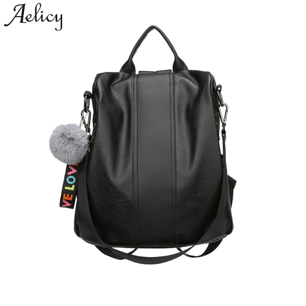 Aelicy 2018 New Arrival leather double zipper backpacks backpack women vintage leather teenage backpacks for girls school bags atlantic 16350 41 45