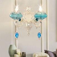 Синий Гостиная кристалл прикроватные бра Ванная комната лампы фон настенный светильник зеркало кристалл лампы лестница Серебряный бра