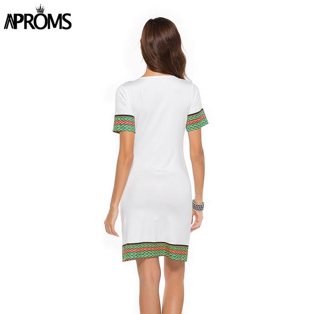 Aproms Sexy V Neck Pocket Patchwork Bodycon Tunic Dress Women Summer 2018 Robe African Print Dashiki Dresses Sundress Vestidos