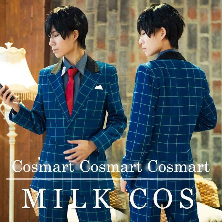 [Customize]Anime Free!figure Nanase Haruka Team Precious Birthday Blue Square pattern Suit Uniform Cosplay costume New free ship