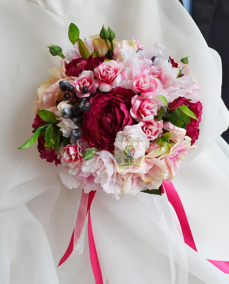 Aliexpress Buy New Style Handmade Rose Pink Lotus Wedding Decorations Holding Bouquets Bride Brunette Graduation Bouquet Flower From