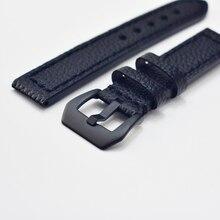 цена на KZFashion New watch bracelet belt Classic retro black watchbands genuine leather strap watchband 20mm watch wristba #F