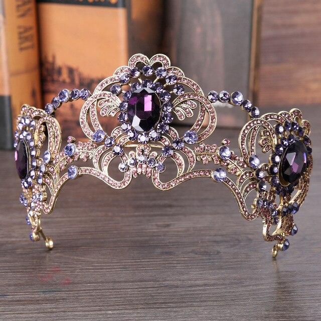 Фиолетовый цветок кристалл свадебная тиара свадебная корона для свадьбы невесты золотой цвет со стразами Корона оголовье украшения Аксесс...