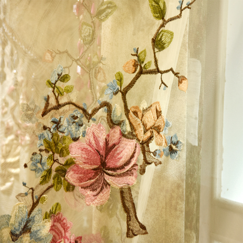 Luxury 3D jacquard villa curtains for Bedrooms with high quality embroidered tulle Living Room Elegant Drapes European Curtains in Curtains from Home Garden