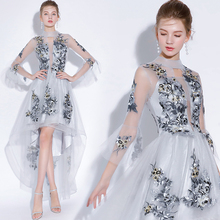 Fariy 刺繍カクテルドレスショートフロントロングバック 2019 エレガント A ライン日パーティーイブニングドレスウエディングドレス