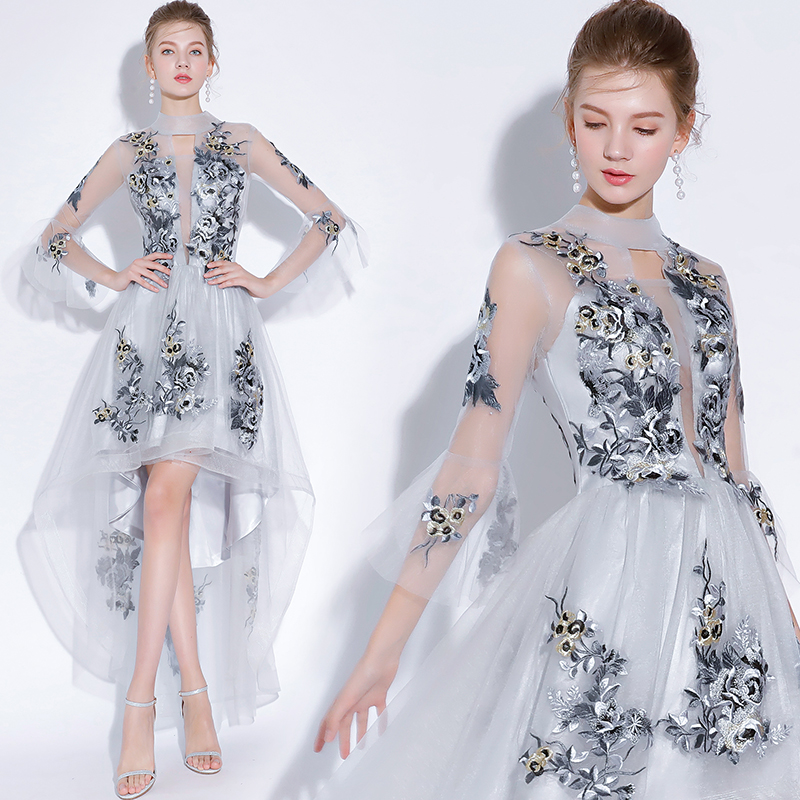 Fariy Embroidery Cocktail Dresses Short Front Long Back 2019 Evening Party Elegant A Line Occasion Party Dresses Prom Dress
