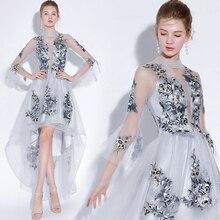 Fariy bordado vestidos de cóctel frente corto espalda larga 2019 elegante una línea ocasión Fiesta Vestidos de Noche vestido de Graduación