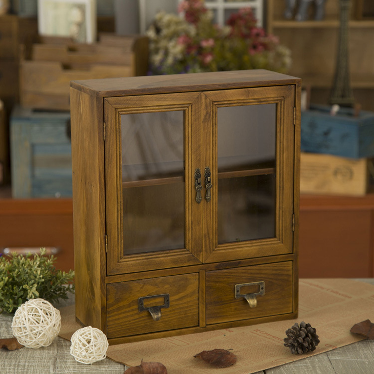 Shabby chic vintage style solid wood cabinet miniature display case with glass hinged door in for Glass door cabinets living room