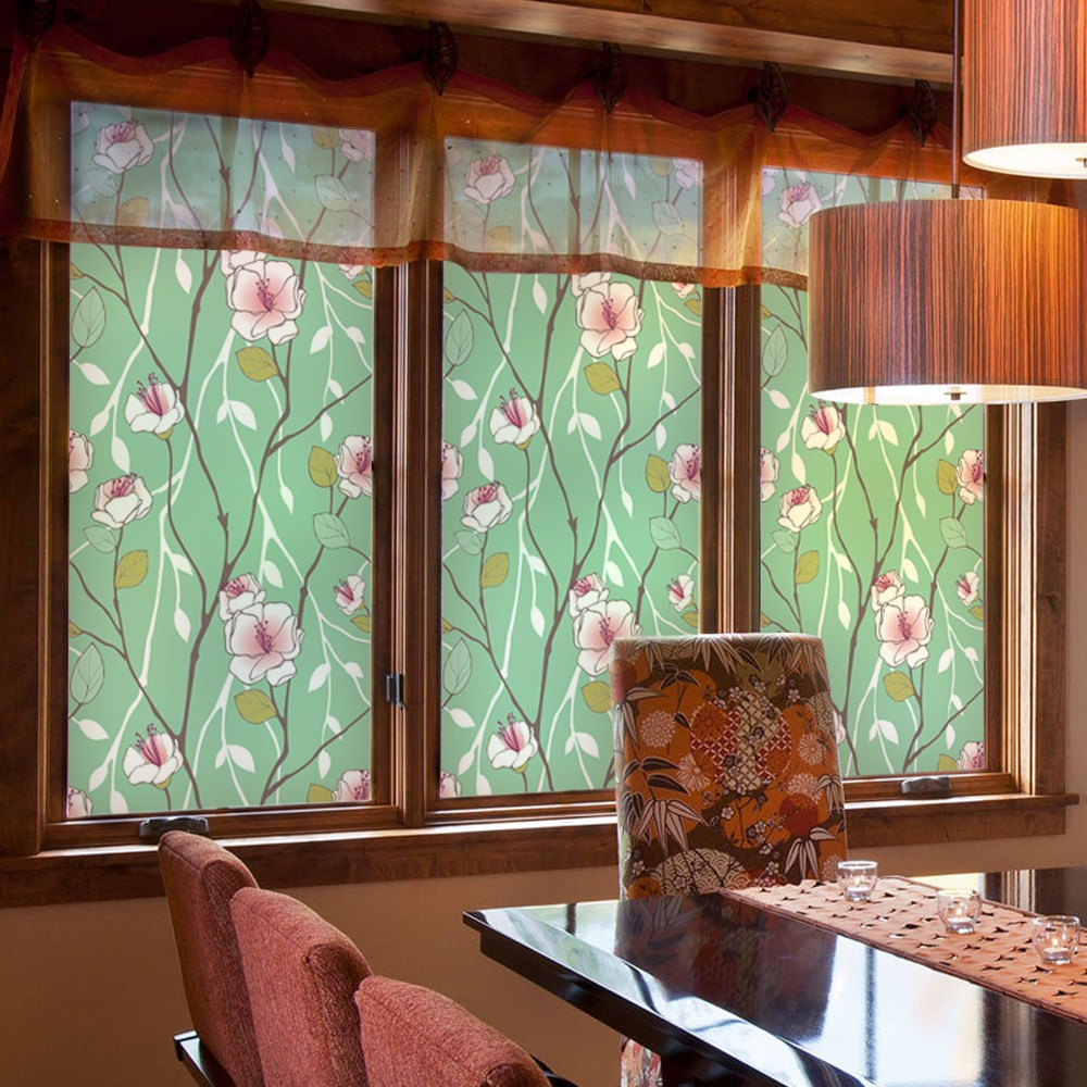 Customized Stained Static Cling Window Film Frosted Opaque Privacy Glass Sticker Home Decor