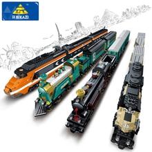 KAZI Building Blocks City Trains Series Building Blocks Rail KTX 3D Blocks Girls Boys DIY Bricks Educational Toys For Children