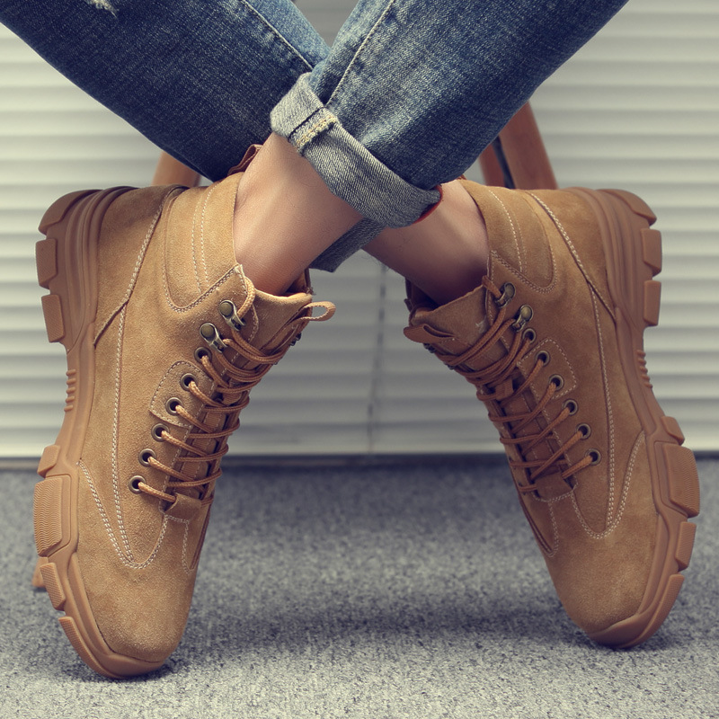 New Autumn Winter Shoes Men Boots Genuine Leather Shoes Warm Plush Cold Winter Boots Army Desert Boots Male Ankle Botas A1591
