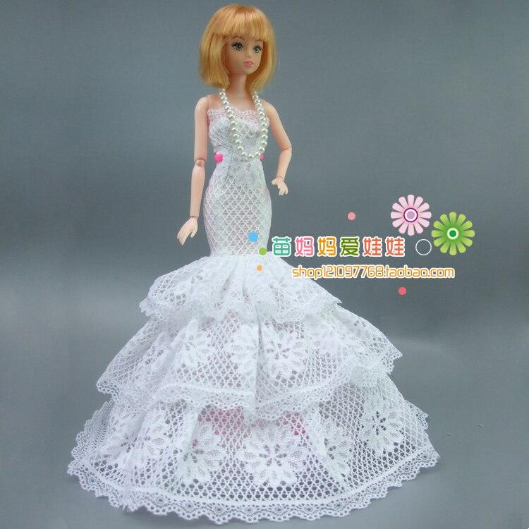 ᗛEnvío libre 1 unidades blanco vestido de novia para muñeca Barbie ...