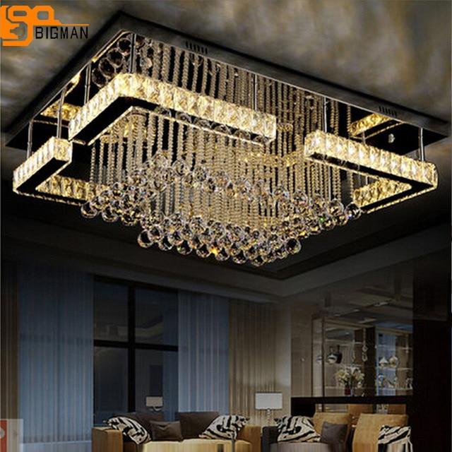 Nouveau design LED plafonnier en cristal de luxe lampe moderne