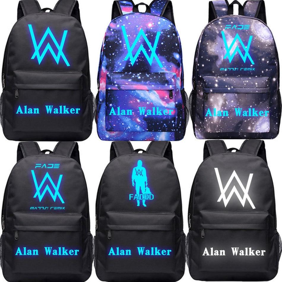 dj alan walker canvas backpack luminous teenager student school bag men 39 s laptop bag travel bag. Black Bedroom Furniture Sets. Home Design Ideas