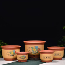 Miniature Bonsai Pots Purple Clay Flower All Handmade Painted Flowerpot Small Size Desktop Free Shipping